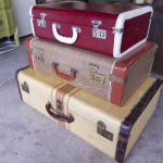 3 siutcases - red, lt browm, cream w stripe (1)