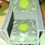 Gray wicker armchair