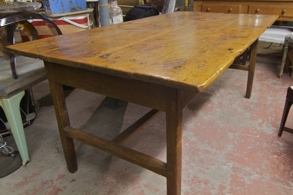 Antique Rustic Pine Harvest Table The